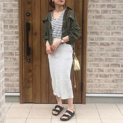 ファッション/ビルケンシュトック/UNIQLOコーデ/ママコーデ/おしゃれ ボーダーTにリブタイトスカートで夏コーデ…