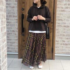 チェックスカート/ブラウンコーデ/ファッション 春カラーばかりなので、久々ブラウンコーデ…