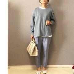 ファッション/ワッフルクルーネックT/ママコーデ/UNIQLOコーデ/おしゃれ/最近のコーデ UNIQLOさんのワッフルオーバーサイズ…