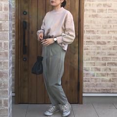 GU/くすみカラー/ファッション 上下GUさん🎶 モックネックスウェットと…