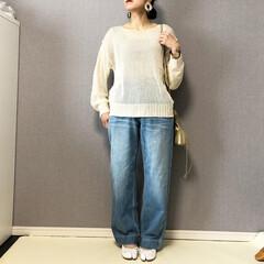 デニムコーデ/シアーニット/サマーニット/ママコーデ/ファッション シアーニット❤️  シンプルに、デニムパ…