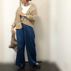 ママコーデ/コーデュロイ/サテンパンツ/ファッション この秋活躍中の、コーデュロイジャケットと…