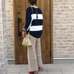 サンダルコーデ/ボーダー/透かし編み/ママコーデ/夏ファッション 透かし編みパンツ✨夏にも使える涼しい素材…