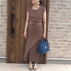 ワッフル/ママコーデ/ファッション ワッフル素材のセットアップで楽ちん夏コー…(1枚目)