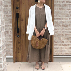 ジャケット/リネン/ファッション/夏のお気に入り お気に入りの、リネンマキシワンピース♡リ…(1枚目)