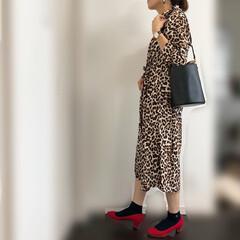 ワンピース/レオパード/ファッション レオパード2連発すみません😅 靴下パンプ…
