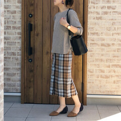 チェック/秋コーデ/ママコーデ/ワッフルT/ファッション 色使いから、少しずつ秋コーディネートに🤗…