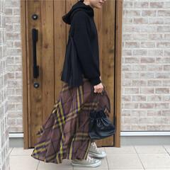 パーカー/チェック柄/ファッション 秋に着たくなるチェック柄☆ ブラウンチェ…