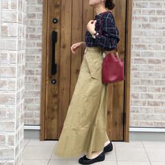 ママコーデ/チェック/ファッション LIPSTARさんのチェックのクロワッサ…