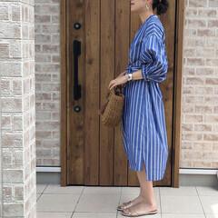 シャツワンピ/ママコーデ/ファッション 5分袖や7分袖は、小物次第で、夏コーデに…