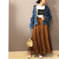 デニムジャケット/ママコーデ/ファッション/おしゃれ/最近のコーデ ボックスロゴTシャツ着回し🎶  スカート…