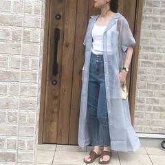 ママコーデ/シアーワンピース/ファッション/おしゃれ/夏ファッション きれいなブルーがかわいいシアーワンピース…