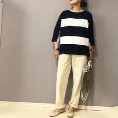 ママコーデ/シェフパンツ/ボーダー/おしゃれ/夏ファッション 夏らしい太ボーダー✨  ホワイトパンツと…