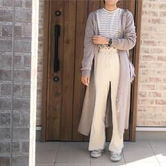 ベージュコーデ/ロングカーディガン/ファッション ロングカーディガン♡を羽織って、ホワイト…