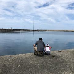 釣れたのはちーちゃな鯖が2匹のみ…/最高気温35.2℃/パパと娘 昨日は釣り♡