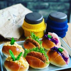 ランチ/お弁当/ロールパン/お昼ごはん/わたしのごはん/おうちごはんクラブ/... #ロールパン弁当。 卵サンド コロッケサ…
