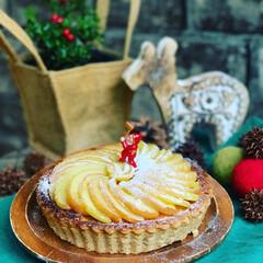 クリスマス/季節のおやつ/季節の果物/りんご/ホットケーキミックス/スイーツ/... ホットケーキミックスで 作ったタルト台で…