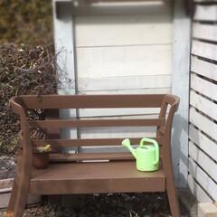 ガーデン/家具リメイク/DIY/家具/住まい/リフォーム 30年前の実家の食卓椅子2つとテレビ台を…