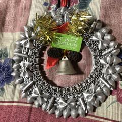 クリスマス2019 マカロニで作ったリース  可愛くできまし…(1枚目)