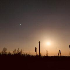 おでかけワンショット/夕日/帰り道/高速道路 遠出した帰り道。 高速道路から夕日を見る…