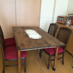 DIY/家具/テーブル/天板リフォーム/椅子カバー テーブル天板と椅子カバーをリフォーム(1枚目)