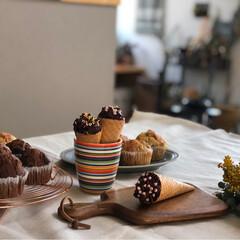 おうちカフェ/手作りチョコ/チョコアイス/バナナマフィン/チョコ/チョコマフィン/... お久しぶりになってしまいました💦 またマ…(1枚目)