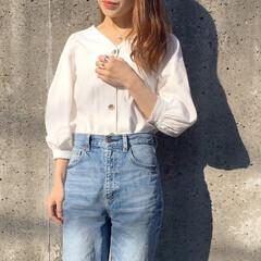 神デニム/guコーデ/GU/フロントボタン/ファッション シンプルが一番♡上下GU