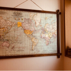 地図/ポスター/DIY/雑貨/インテリア/ポスターフレーム/... 我が家には世界地図も地球儀もないなぁと思…