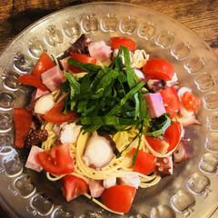 冷静パスタ/フード/おうちごはん 夏の簡単ごはん✨✨ タコとトマトの冷静パ…