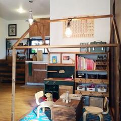 キッズスペース/キッズハウス/ままごとキッチン/収納棚/DIY/部屋作り/... キッズハウス ままごとキッチン 収納棚を…