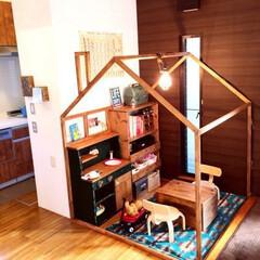キッズハウス/DIY/部屋作り/ままごとキッチン/収納棚/男前インテリア/... キッズハウスをDIY。