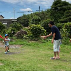 天気雨振ってもやってる😅/甲子園ごっこ/パパ念願の遊び/100均/セリア 元野球部⚾️のパパ、男の子が出来たら、「…