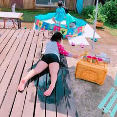 庭が広すぎ😡/一度に沢山作れる水風船/子供はプール/半端ない暑さ/草刈り/セリア 暑い〜🤯 朝のうちに、大人総勢4人で草刈…