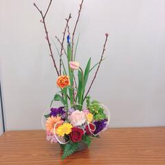 桃の花/プリザーブドフラワーアレンジメント/フラワーアレンジメント/ひな祭り/ピンク 初フラワーアレンジメント💐 そして、プリ…