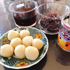 はごろもフーズ/朝からフルーツみつ豆 190g(その他乾物、乾燥豆類、缶詰)を使ったクチコミ「今日の暇つぶし😆  白玉団子作り🍡  混…」