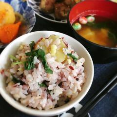 さつまいもご飯/雑穀米/新米/秋の味覚/さつまいも 秋ですね。 さつまいもご飯が食べたくなっ…