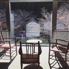 冬景色/温泉/冬/おでかけ/風景 昨日行った温泉の待合室です。  ここのガ…