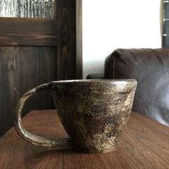 陶芸作品/ヴィンテージ/男前インテリア/カフェ風インテリア/おうちカフェ/コーヒーカップ/... こちらも陶芸作家の友人が作ったマグカップ…