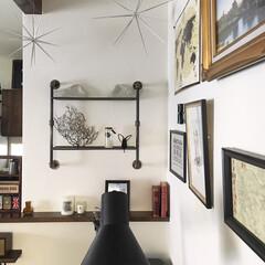 フェルメール/ダイソー/イギリスビンテージ/おうち自慢/わたしのおうち自慢/インテリア/... 自分で取り付けたパイプ棚、家の中で1番模…