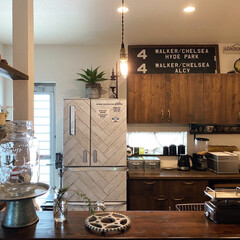 DULTON ティントレイスタンド   DULTON(食器スタンド)を使ったクチコミ「冷蔵庫のねずみ色が気に入らず、DAISO…」