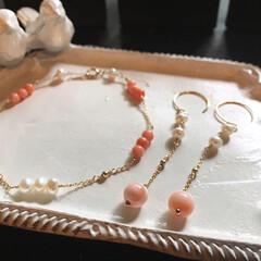 ハンドメイド/ブレスレット/ピアス/アクセサリー/珊瑚/みんなにおすすめ/... おすすめは、地元高知産の珊瑚を使ったアク…(1枚目)