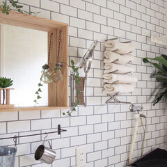 インドアグリーン/洗面所/鏡/ウォールミラー/DIY/インテリア/... サニタリールームのボックスミラーはニトリ…