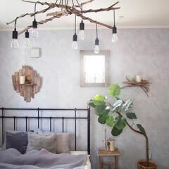 流木/寝室/DIY/インテリア 寝室の小窓側はお隣さんが目の前で日があま…