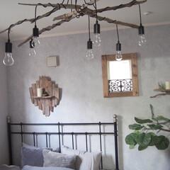 寝室/照明/多灯ランプ/ペンダントランプ/流木ランプ/流木ライト/... 寝室のライトを変えました! Amazon…