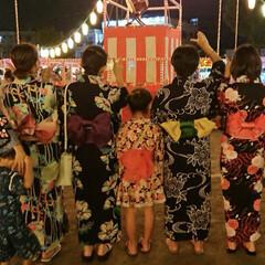 盆踊り/夏祭り/浴衣/ファッション 友人達と近所の公園の盆踊りに…5人着付け…