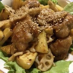 鳥もも肉/蓮根/さつま芋/おうちごはん 蓮根とさつま芋のデパ地下風。鶏肉も入れて…