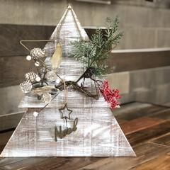 クリスマス/DIY/ハンドメイド/雑貨/100均/インテリア クリスマスリースを木製パネルに合わせたク…(1枚目)