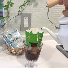 おうち時間/スターバックスコーヒー/キッチン雑貨/おうちごはん/ランチ/簡単/... スターバックスのアイスコーヒー、氷を入れ…
