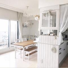 ラブリコ/キッチン/インテリア/DIY/住まい ラブリコを使い、キッチンカウンターに柱を…(1枚目)