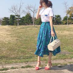 初夏コーデ/ZARA/Tシャツ/スカートコーデ/コーデ/今日のコーデ/... 今週は暑くなりそう! LADY MADE…